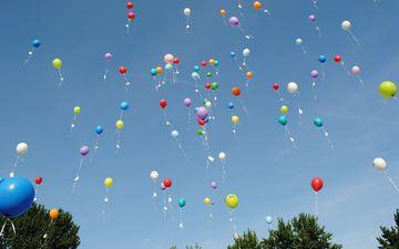 небо, шары, разноцветные, воздушные шары, праздник, воздушные шарики