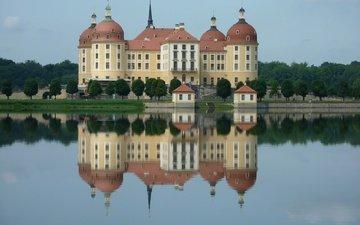 lake, reflection, castle, architecture, germany, saxony, moritzburg castle, moritzburg