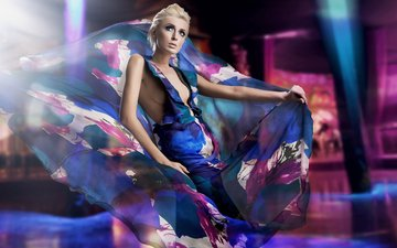 стиль, девушка, платье, блондинка, взгляд, модель, лицо, макияж, гламур