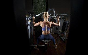 девушка, блондинка, спорт, коса, фитнес, тренажерный зал