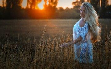 вечер, природа, закат, девушка, настроение, блондинка, поле, модель, в белом