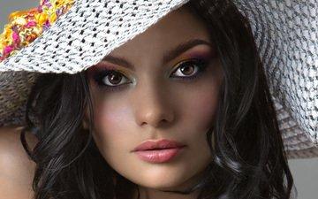 портрет, брюнетка, взгляд, модель, губы, лицо, макияж, шляпа, губная помада, губная помада лицо