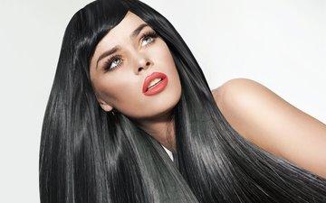 девушка, портрет, взгляд, модель, волосы, губы, лицо, макияж, помада, ресницы
