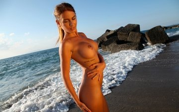 shore, girl, sea, beach, naked