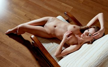 girl, chair, naked
