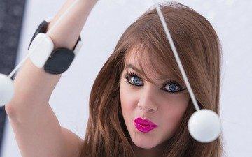 портрет, модель, голубые глаза, макияж, губки, длинные волосы, барбара palvin