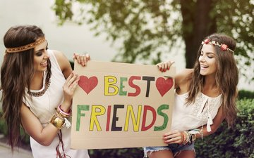 настроение, девушки, плакат, улыбки, подруги