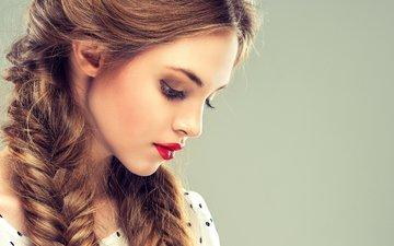 глаза, девушка, взгляд, модель, профиль, губы, лицо, макияж, помада, косички