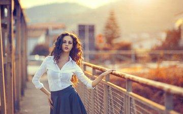 девушка, забор, юбка, модель, рубашка, длинные волосы