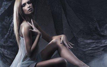 girl, blonde, look, model, legs, face, glamour, white dress