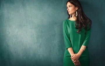 украшения, девушка, взгляд, волосы, лицо, зеленое платье