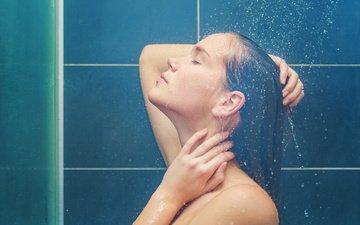 девушка, профиль, волосы, лицо, душ, мокрая, закрытые глаза