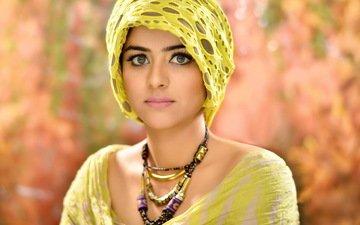 girl, portrait, look, model, hair, face, makeup, photoshoot, headdress, hijab
