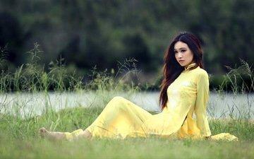 трава, природа, девушка, луг, модель, азиатка, газон, фотосессия, o d i