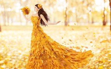 leaves, girl, mood, dress, autumn, hair, face, falling leaves