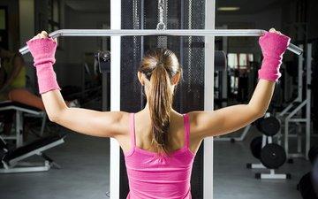 девушка, фитнес, тренажерный зал, упражнения, тренажер
