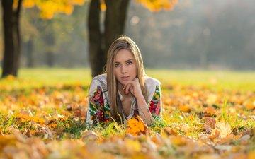 трава, природа, листья, девушка, парк, блондинка, осень, лежит, браслеты, длинные волосы, солнечный свет