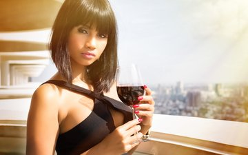 girl, the city, look, model, glass, balcony, asian, red wine, bangs