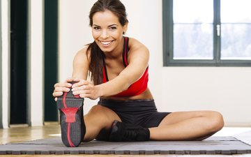 девушка, поза, улыбка, фитнес, коврик, гимнастика, тренировки
