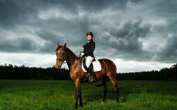 the sky, horse, grass, nature, girl, pose, rider