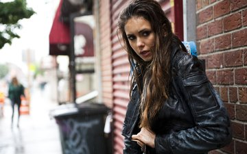 look, street, model, rain, hair, actress, wet, jacket, nina dobrev, photoshoot, caitlin cronenberg