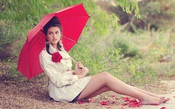 девушка, поза, брюнетка, лепестки, взгляд, зонт, лицо, зонтик