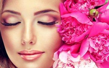 цветы, девушка, портрет, модель, волосы, лицо, макияж, пионы, закрытые глаза
