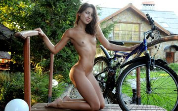 girl, pose, smile, brunette, look, model, legs, figure, bike, naked, eva jane, eva james, попкf
