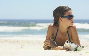 girl, sea, sand, beach, brunette, model, bikini, photoshoot, sunglasses, bare shoulders