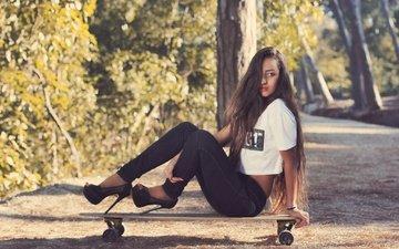 girl, autumn, model, sitting, jeans, legs, long hair, skateboard, high heels