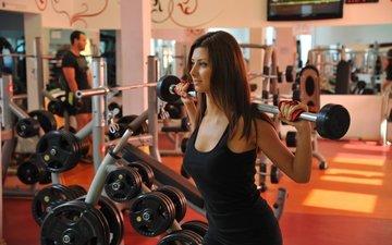 девушка, модель, фитнес, спортивная одежда, спортзал, штанга, тренировки, тренажеры