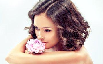 girl, flower, portrait, look, model, hair, face