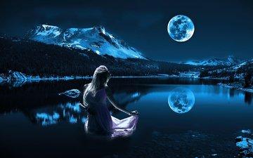 ночь, озеро, девушка, отражение, платье, блондинка, гора, луна, модель
