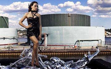 платье, поза, брюнетка, актриса, прическа, фигура, фотосессия, дэйзи ридли, elle, mark seliger