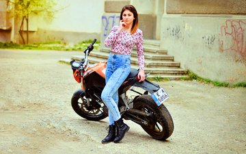girl, look, model, jeans, hair, face, motorcycle