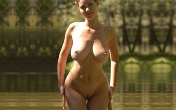 lake, girl, look, model, chest, hair, face, posing, naked