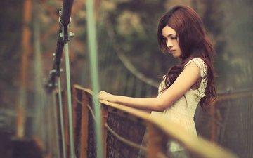девушка, лето, мост, взгляд, ограждение, профиль, азиатка