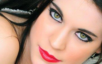 girl, portrait, brunette, look, hair, face, green eyes, makeup, giovanni zacche