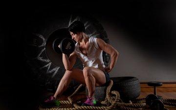 поза, брюнетка, модель, женщина, фитнес, гантели, тренировки