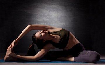 девушка, поза, модель, растяжка, спортивная одежда, йога, гимнастика