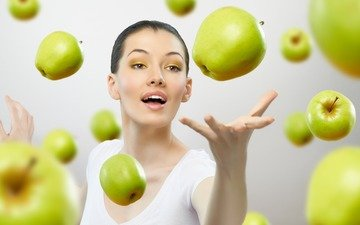 hand, girl, mood, fruit, apples, look, model, hair, face