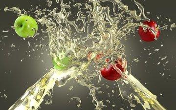 капли, фрукты, яблоки, брызги, всплеск, сок