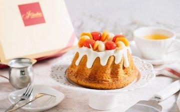 ягоды, чай, сладкое, выпечка, десерт, кекс