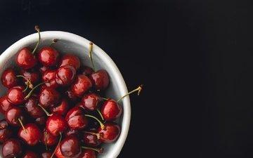 черешня, черный фон, ягоды, вишня
