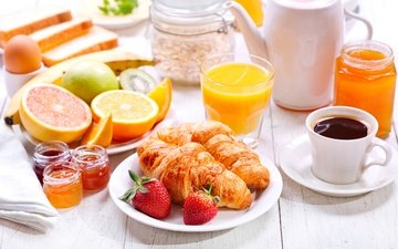 fruit, oranges, strawberry, coffee, jam, berries, breakfast, sweet, honey, cakes, juice, croissants