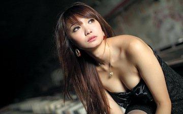 девушка, взгляд, волосы, лицо, японка, азиатка