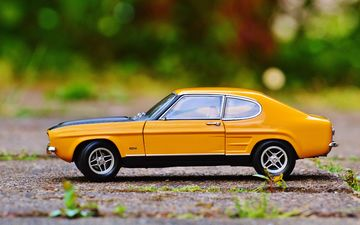 toy, auto, model, taxi, yellow, car, ford, machine