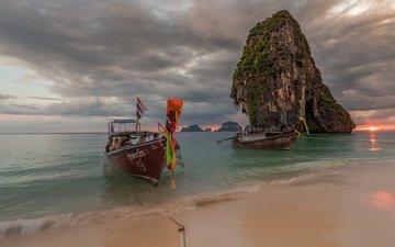 shore, sea, rock, boat, thailand