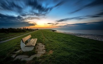 the sky, grass, clouds, shore, sunset, bench