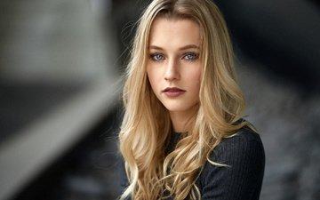 блондинка, портрет, взгляд, модель, макияж, прическа, красотка, боке, mara, alex fetter